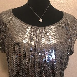 Pre Owned Silver Sequin Blouse